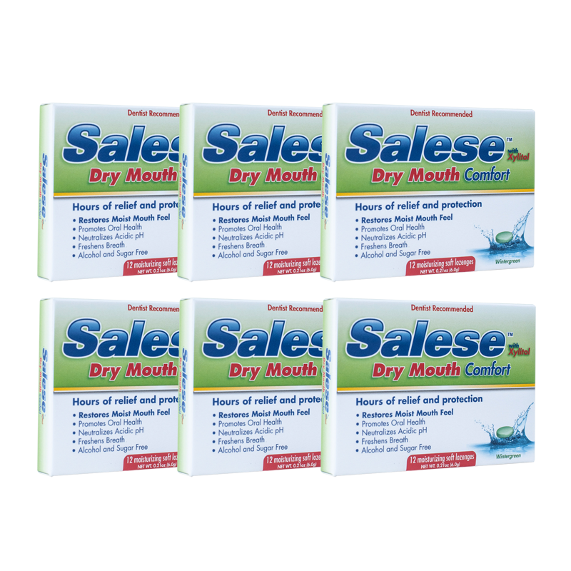 6-pack of Salese Wintergreen Dry Mouth Comfort soft lozenges by Nuvora, Inc.